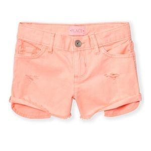 NWT Girls Distressed Peach Pink Denim Shorts 8